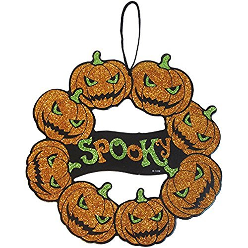 4-pk Pumpkins Wreath Spooky Beware Scary Glitter Skeleton Ghost Hanging Decorations Value Pack Best for Halloween Haunted House Party (Spring Door Wreaths Sale)
