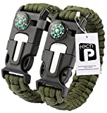 TECH-P 5 in 1 Multifunctional Paracord Bracelet with Compass Flint Fire Starter Scraper Whistle- 2 Pack Army Green