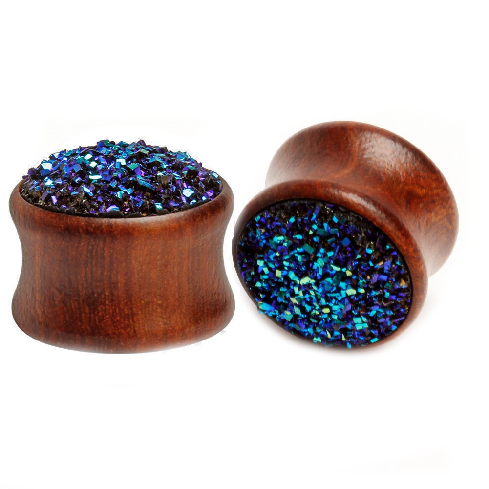 HQLA Ear Plugs Gauge Expander Tunnels With O-Ring Body Piercing, Wood with synthetic druzy stone dome. 00g(10mm)) BOOST