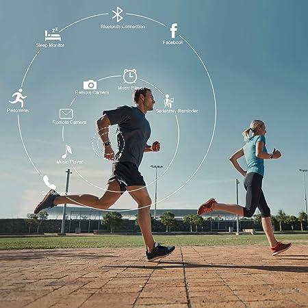 Reloj Inteligente, Smartwatch con Pulsómetro Reloj Inteligente Resistente al Agua Fitness Tracker con Cronómetro, Podómetro, Deportes Pulsera Correa ...