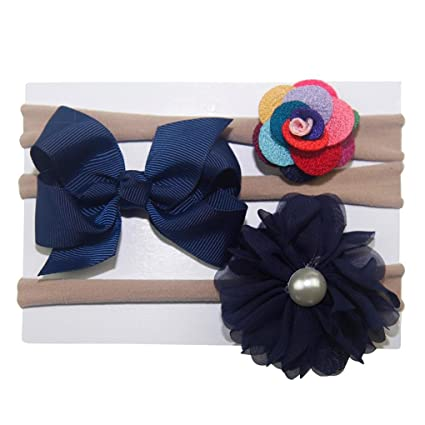 3Pcs//set Infant Baby Girl Bow Headband Newborn Headdress Headwear Hair Band Cute