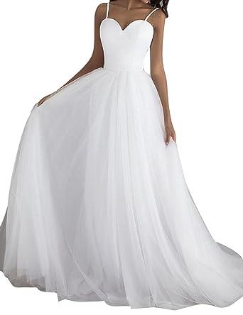 Brautkleid Damen Hochzeitskleider Lang Strand Brautmode Tull A Linie