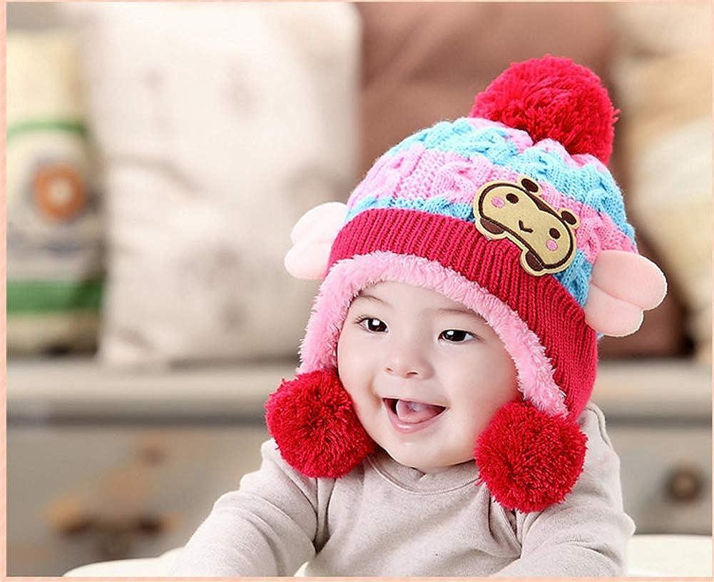 Unisexe Gar/çon Filles Hiver Chaud Bonnet Enfants Bonnet dhiver Cap /Épais Stretchy Tricot Chapeau Slouch Chapeau DOTBUY B/éb/é Bonnet Tricot/é