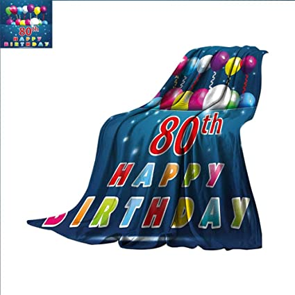 Amazon 80th Birthday Camping Blanket Happy Birthday Quote With