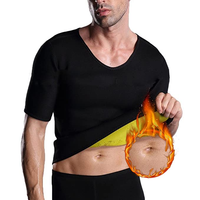Men's Short-Sleeve Sauna Waist Trainer Hot Weight Loss No Zipper Neoprene  Burn Fat Shirt[Refer to Our Size Chart]