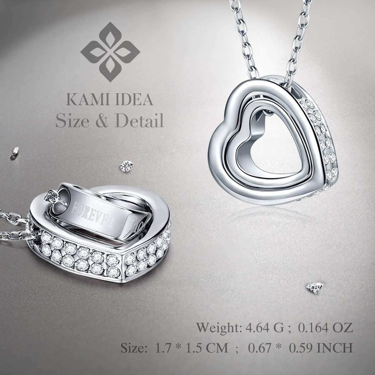 HACOOL 925 Sterling Silver Personalized Key Heart Puzzle Necklace Set,Necklace for Couples Christmas with Gift Bag