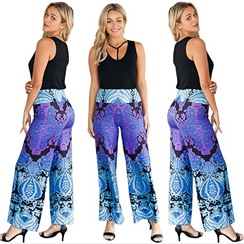 FarJing Pants for Womens,Clearance Sale Summer Floral Bohe Casual Wide Leg Elastic High Wast Trousers Pants(XL,Blue (Jersey Classic Screen Print)