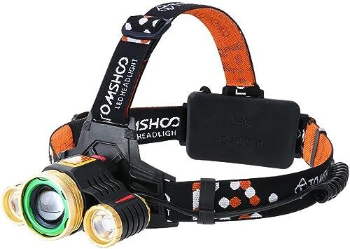 TOMSHOO Linterna Frontal LED TS600T, 1600 Lúmenes, 180° Ajustable ...