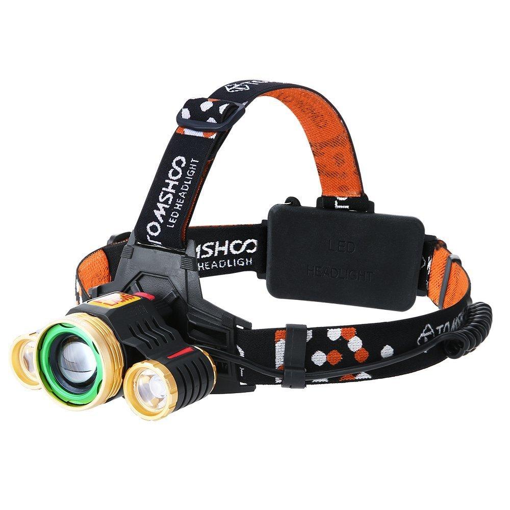 TOMSHOO Linterna Frontal LED 1600 Lúmenes, 180° Ajustable, 24H luz, Hasta 500 metros, Función de Zoom, 4 Modos de Iluminación, USB Recargable, Mejor Opción para Montañismo/Pesca/Ciclismo/Correr Y7387-M