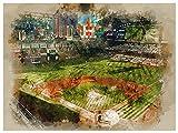 Houston Astros Poster Watercolor Art Print 12x16 Wall Decor