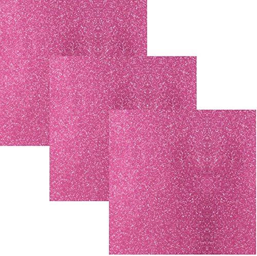 Siser EasyPSV Glitter Permanent Self Adhesive Craft Vinyl 12 x 12 Sheets 3 Pack (Pink Flirt)