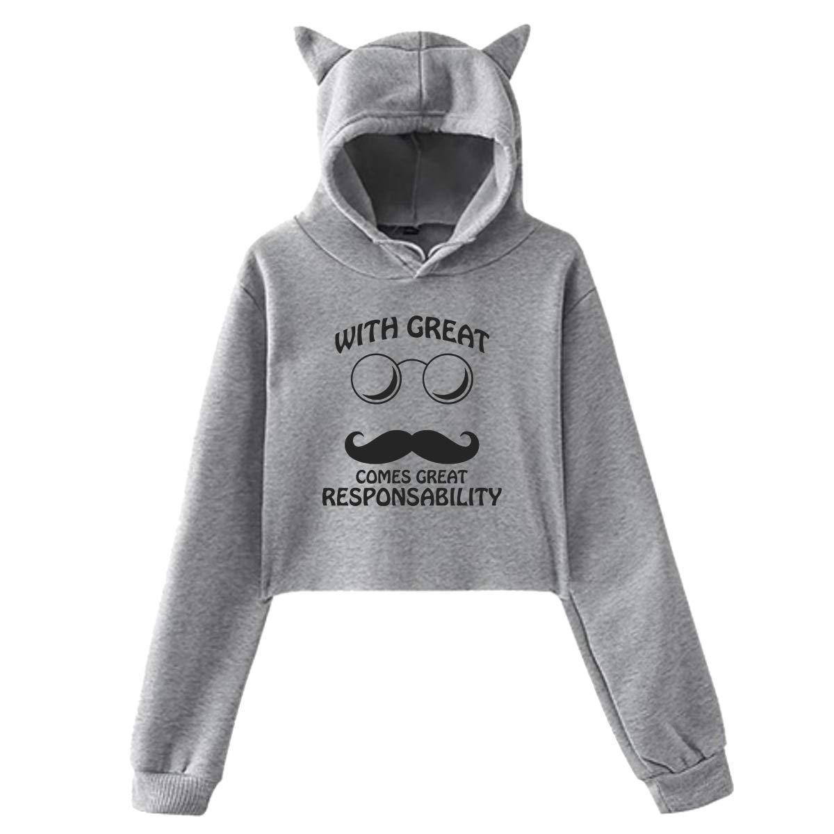 Womens Long Sleeve Crop Top Hoodies Great Mustache Cat Ear Lumbar Hoodie Pullover Sweater