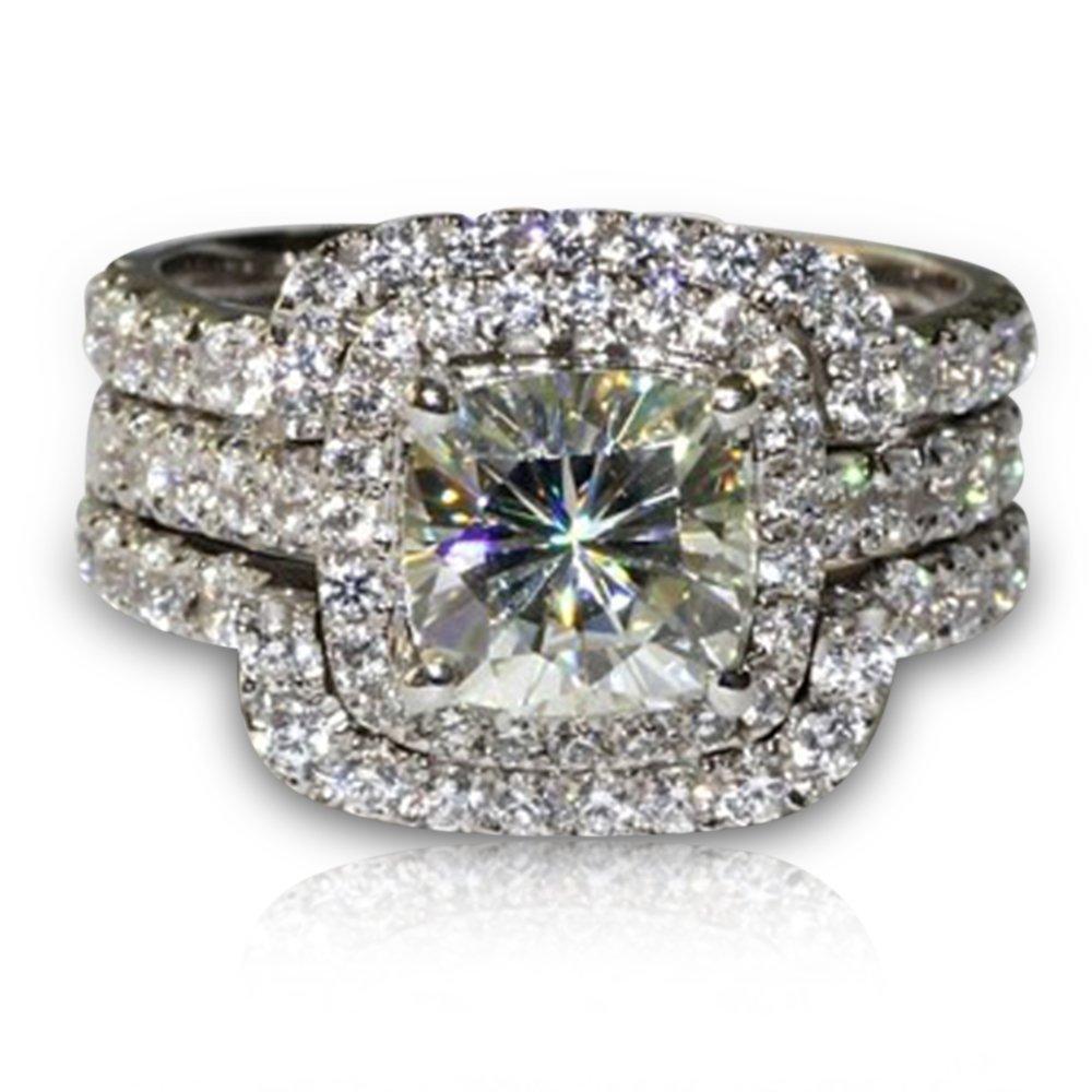 TVS-JEWELS Women's 3 Pcs Vintage White Plated Round Cut CZ Wedding Engagement Set Promise Ring (5.5)
