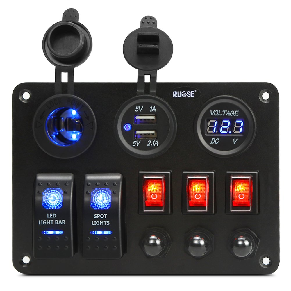 Rupse Toggle Switch Panel Socket Charger Led Voltmeter Marine Boat Waterproof Black Rocker Circuit Breaker 12v Power Outlet For Car Rv Truck 040 Sports Outdoors
