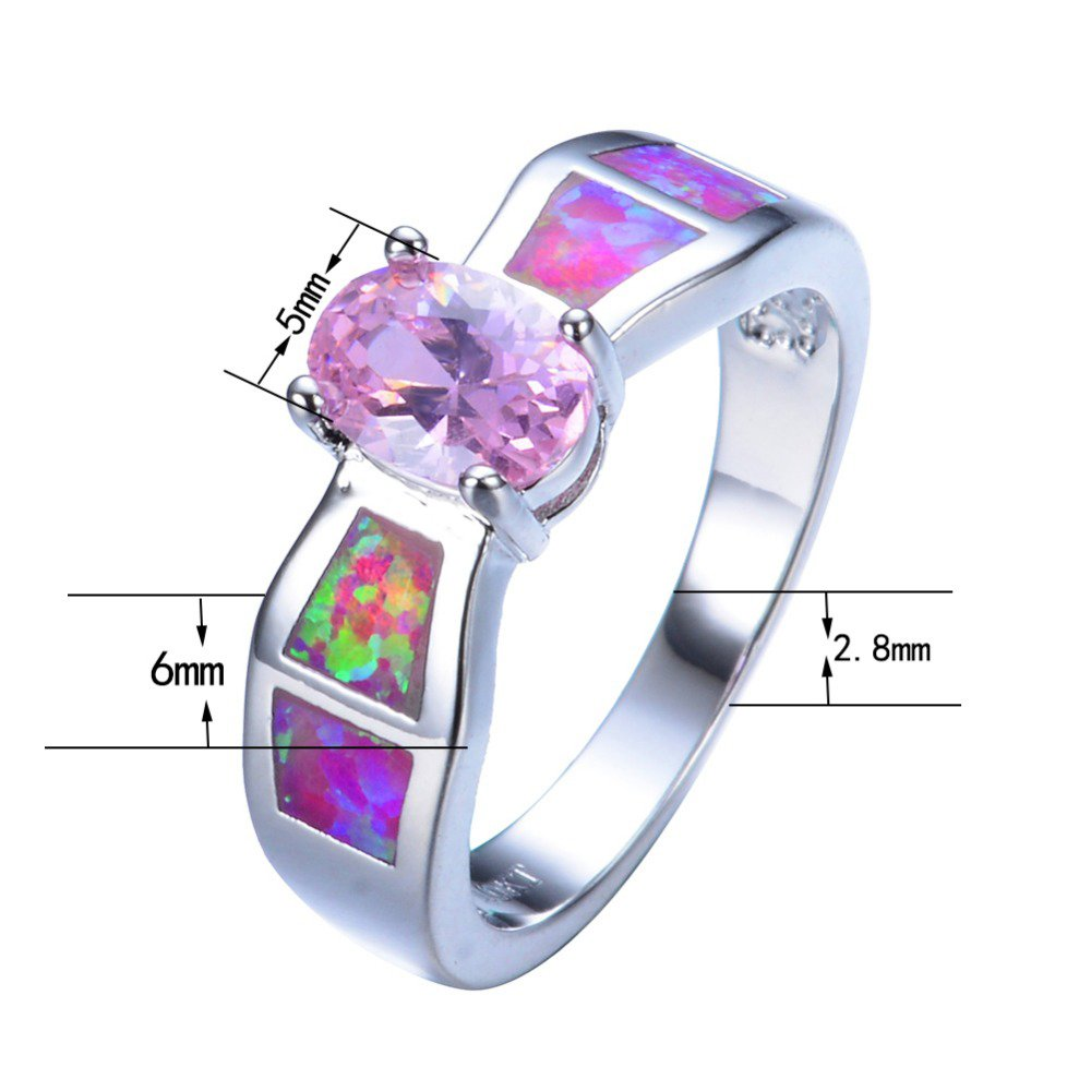 F/&F jewel Fashion Multicolor Green fire Opal Rings For Women Wedding Ring Engagement Bridal Rings