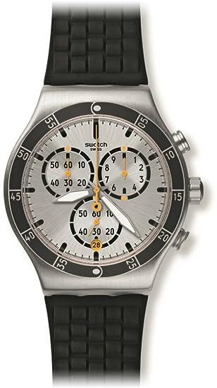 Swatch Reloj Cronógrafo para Unisex de Cuarzo con Correa en Silicona YVS420: Amazon.es: Relojes