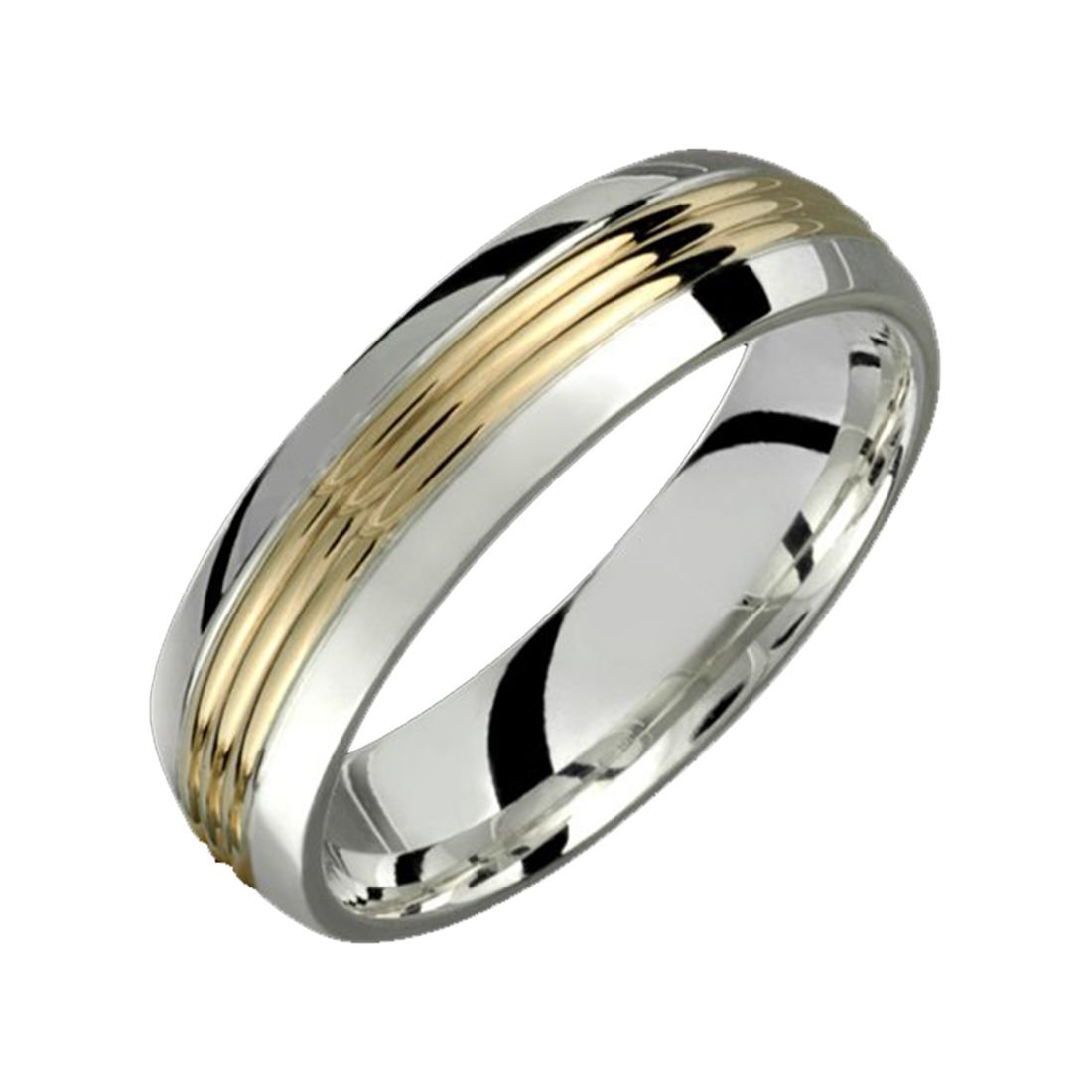 Alain Raphael 6 Millimeters Wide 2 Tone Ring .925 Sterling Silver and 10K Yellow Gold Wedding Band by Alain Raphael
