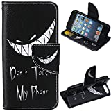 LEECO iPod Touch 5 6th Case,Fashion Synthetic PU Leather Wallet Type Magnet Design Flip Stand Case Cover for Apple iPod Touch 5 6th Generation + Send 1 Stylus Pen(Don't touch my phone)