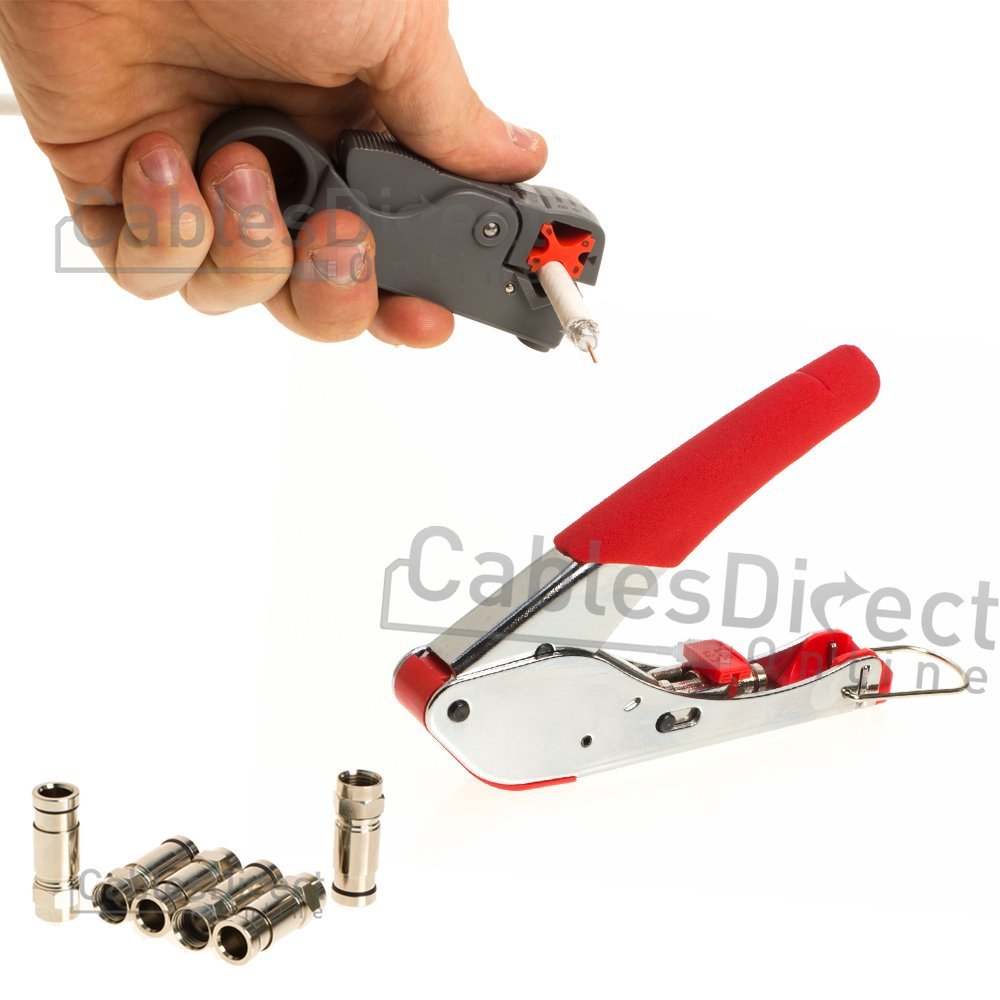 RG6 Coaxial Wire Stripper Crimper Tool Set Kit, Connectors, Tool, Rotary Stripper (5 Connectors)