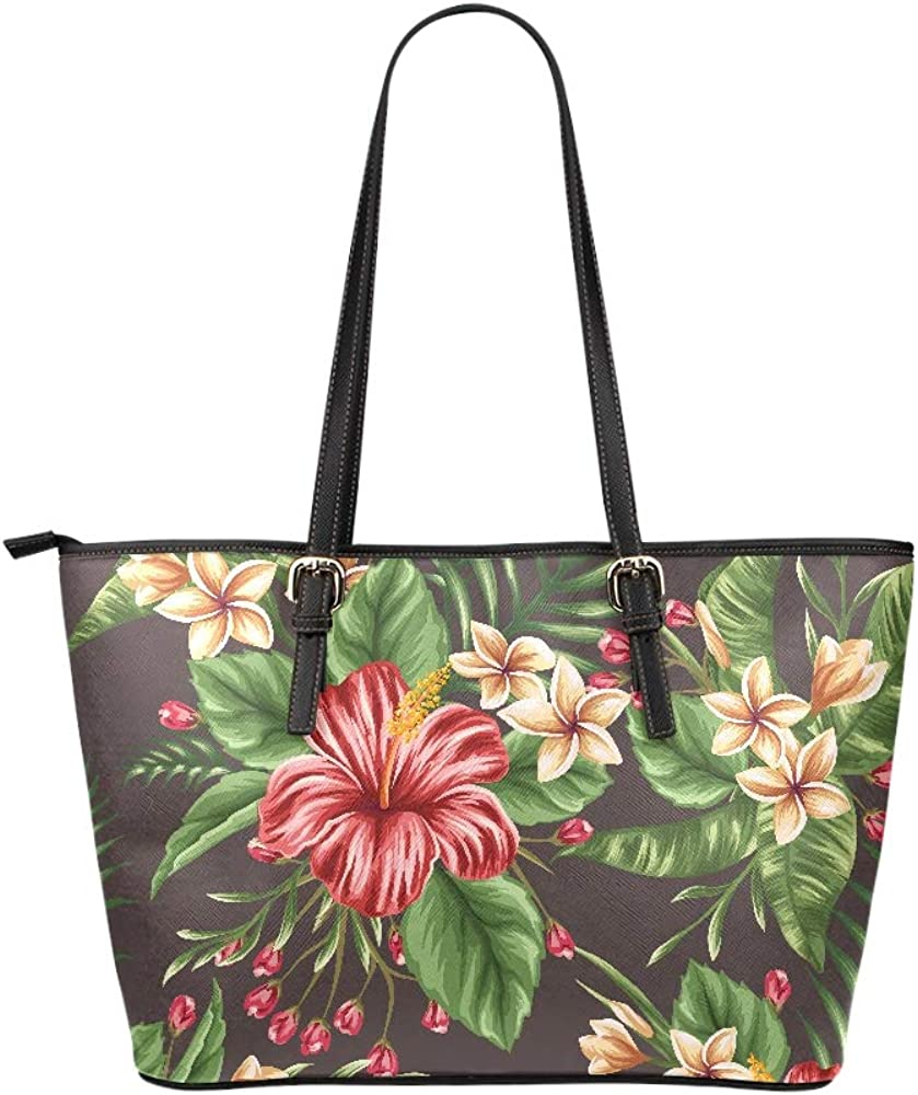 Large Tote Bag Women Tropical Floral Seamless Pattern Plumeria Hibiscus Leather Hand Totes Bag Causal Handbags Zipped Shoulder Organizer For Lady Girls Womens Boy Travel Bag