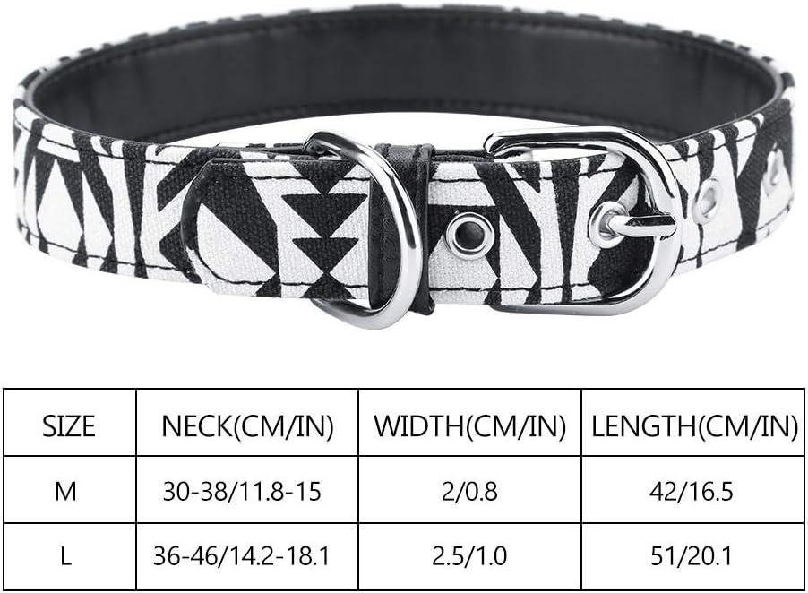 Cuello de Perro Fuerte Ajustable Impreso Lienzo Suave Collares de Perro para Mascotas Suministros Negro - M