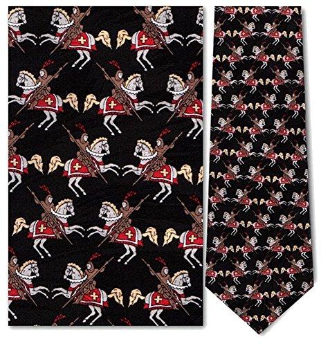 Men's 100% Silk Black Medieval Charging Knight On Horse Tie Necktie - History Of The Necktie