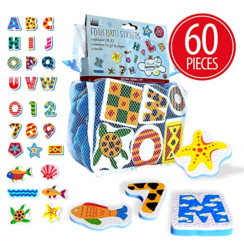 60 Pieces Bath Foam Stickers for Kids, Toddlers, boy, Girl. Puffy, 3D Look and Feel. Alphabet, Numbers and sea Fish Shapes. Bulk Gift mesh Bag for Bath.