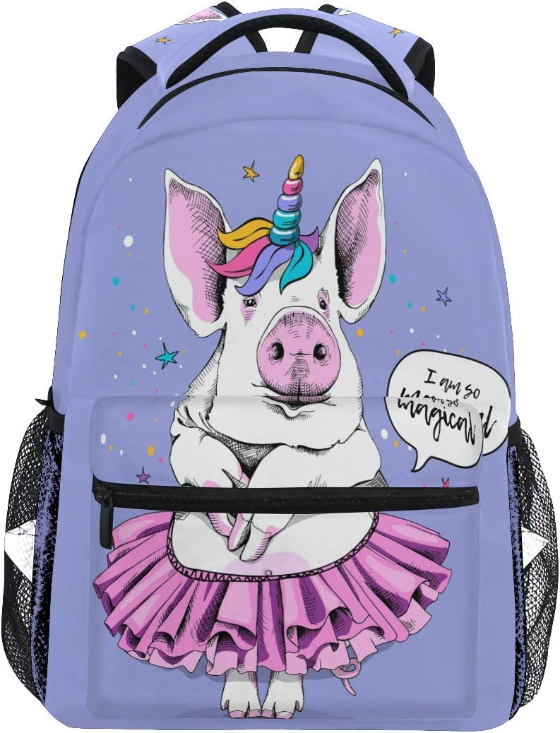 Cute Pig In A Ballerina Tutu And Unicorn Mask On Light Violet Background Backpacks Travel Laptop Daypack School Bags for Teens Men Women