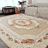 Cheap Judy Dre am European Style Living Room Area Rugs Fashion Modern Flowers Bedroom Carpet Soft Baby Crawling Mat Children's Game Doormat (73″X73″, Beige)