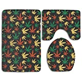 LALALA Cannabis Retro Medical Marijuana 3 Piece Non-slip Bathroom Rug Set Soft Bath Mat Contour Rug Toilet Lid Cover Home Decorative Doormat