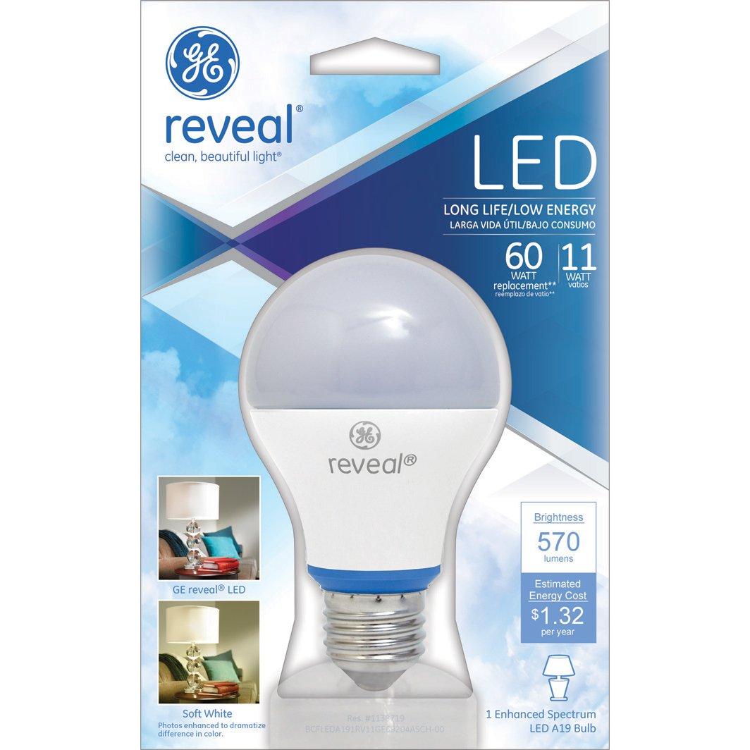 GE Lighting 69204 Reveal LED 11 Watt (60 Watt Equivalent) 570 Lumen A19  Dimmable Light Bulb With Medium Base   Led Household Light Bulbs    Amazon.com