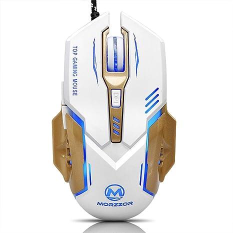 Mouse con cable para juegos de Rawdah, 3200 DPI, botones 6D, LED,