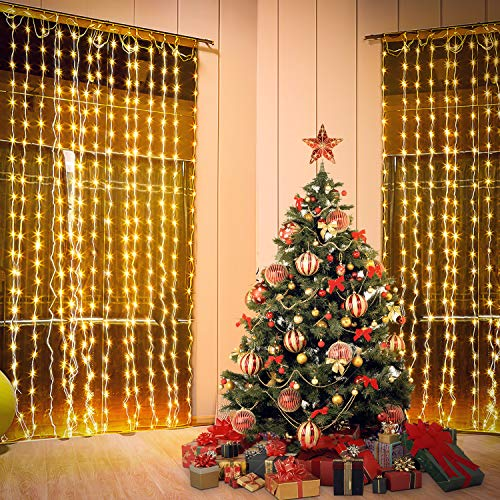 Tautelk zz LED Curtain Light with Remote, 600 LED 19.8 Foot x 9.8 Foot LED Window String Light with 8 Modes Setting for Wedding Party Home Garden Bedroom Wall Decoration, Soft White