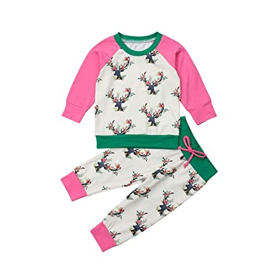 af6c9d193 Amazon.com: Christmas Toddler Baby Girl Deer Floral Tops Long Sleeve T  Shirt Pants Outfits Set Clothes 0-3T: Clothing