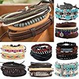 Leather, Bead and Hemp Boho Hippie Bracelet Sets