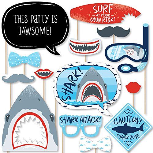 Big Dot of Happiness Shark Zone - Jawsome Shark Party or Birthday Party Photo Booth Props Kit - 20 Count -