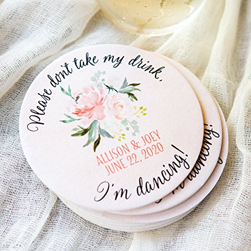 (Don't Take My Drink Wedding Coasters, I'm Dancing, Floral Personalized Names & Wedding Date Peach Peony Design)