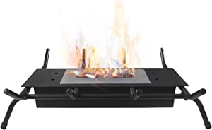 Tabletop Fire Pit, Table top Fireplace with Grates, Ventless Indoor Outdoor Fire Pit Tabletop Portable Fire Bowl Pot Bio Ethanol Fireplace in Black, Black Wrought Iron Fireplace Log Grates