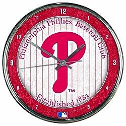 MLB Philadelphia Phillies Chrome Clock, 12 x 12
