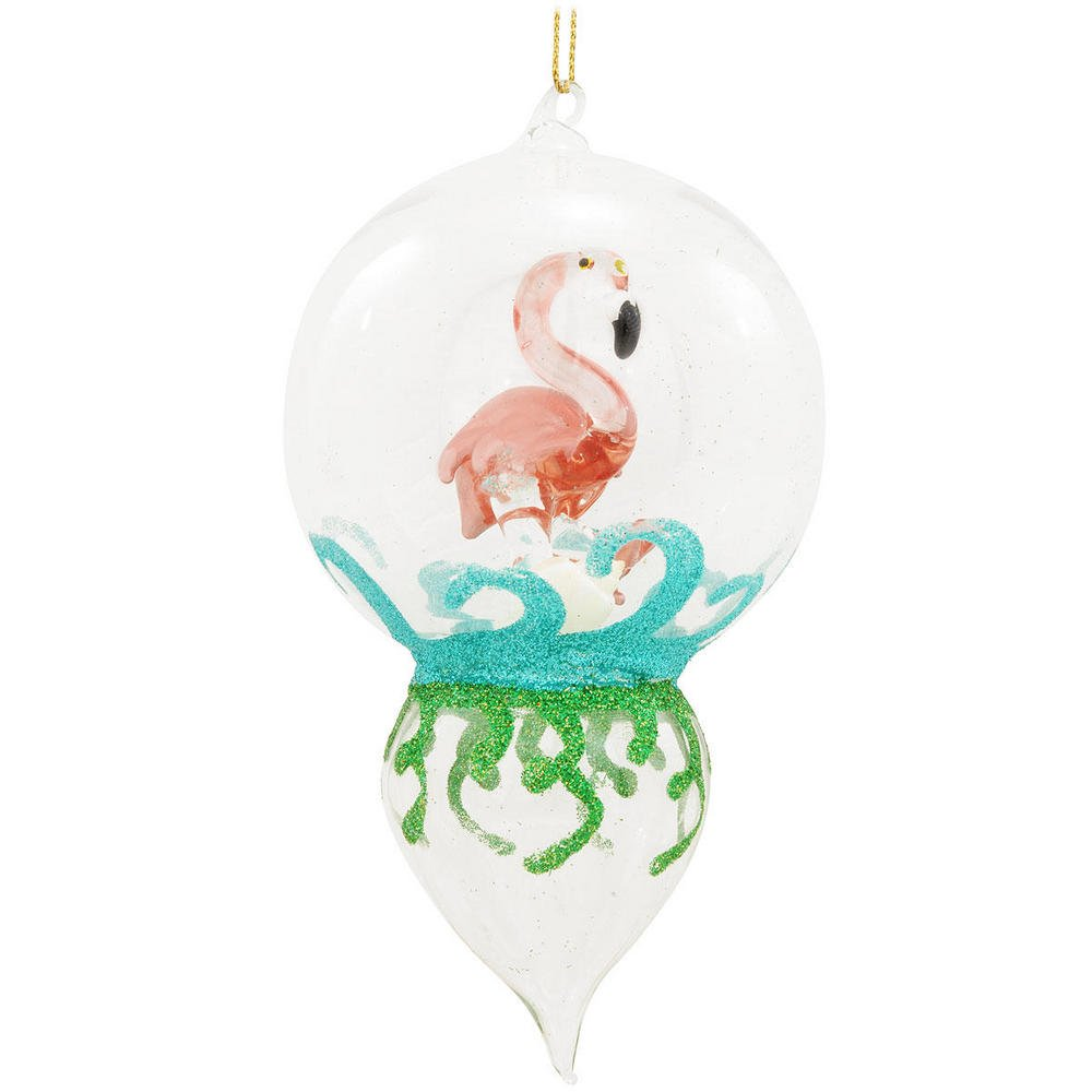 Pink Flamingo Finial Glass 6 Inch Christmas Holiday Ornament