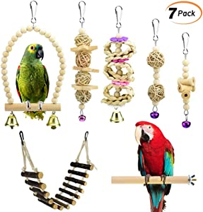 KATUMO 7 pcs Bird Parrot Toys, Natural Wood Bird Swing Climbing Chewing Standing Hanging Perch Hammock Rope Ladder Bell Bird Cage Toys for Parrots, Parakeet, Conure, Cockatiel, Mynah, Love Birds