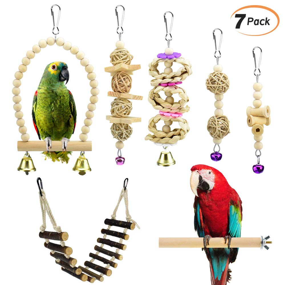 KATUMO 7 pcs Bird Parrot Toys, Natural Wood Bird Swing Climbing Chewing Standing Hanging Perch Hammock Rope Ladder Bell Bird Cage Toys for Parrots, Parakeet, Conure, Cockatiel, Mynah, Love Birds by KATUMO