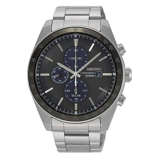 4b13d56a76cbd Seiko Solar Reloj para Hombre Analógico de Solar con Brazalete de Acero  Inoxidable SSC715P1  Amazon.es  Relojes