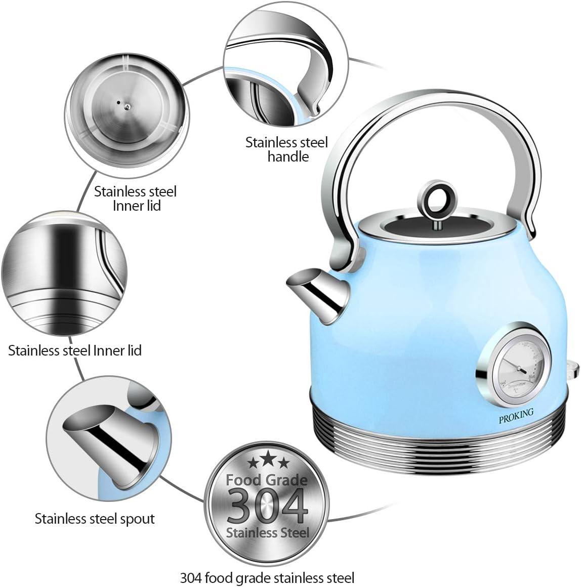 Base a 360/º Spegnimento Automatico Luce LED Display Della Temperatura Bollitori per T/è Retr/ò Bollitore in Acciaio Inossidabile da 2200 W 1,7L Blu Senza BPA Bollitore Elettrico
