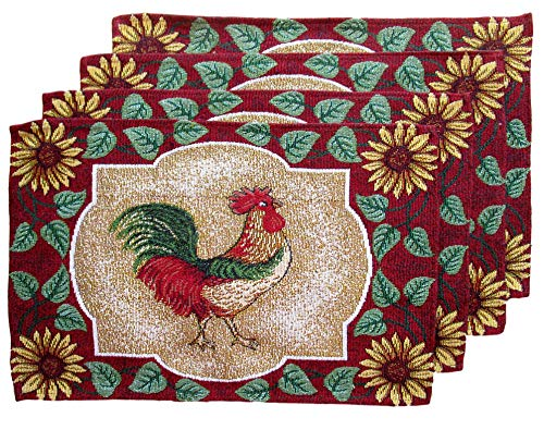 HomeConcepts Farm to Table Woven Tapestry Place Mats - Roosters on Barn Board (Green and Gold Rooster with Sunflowers)