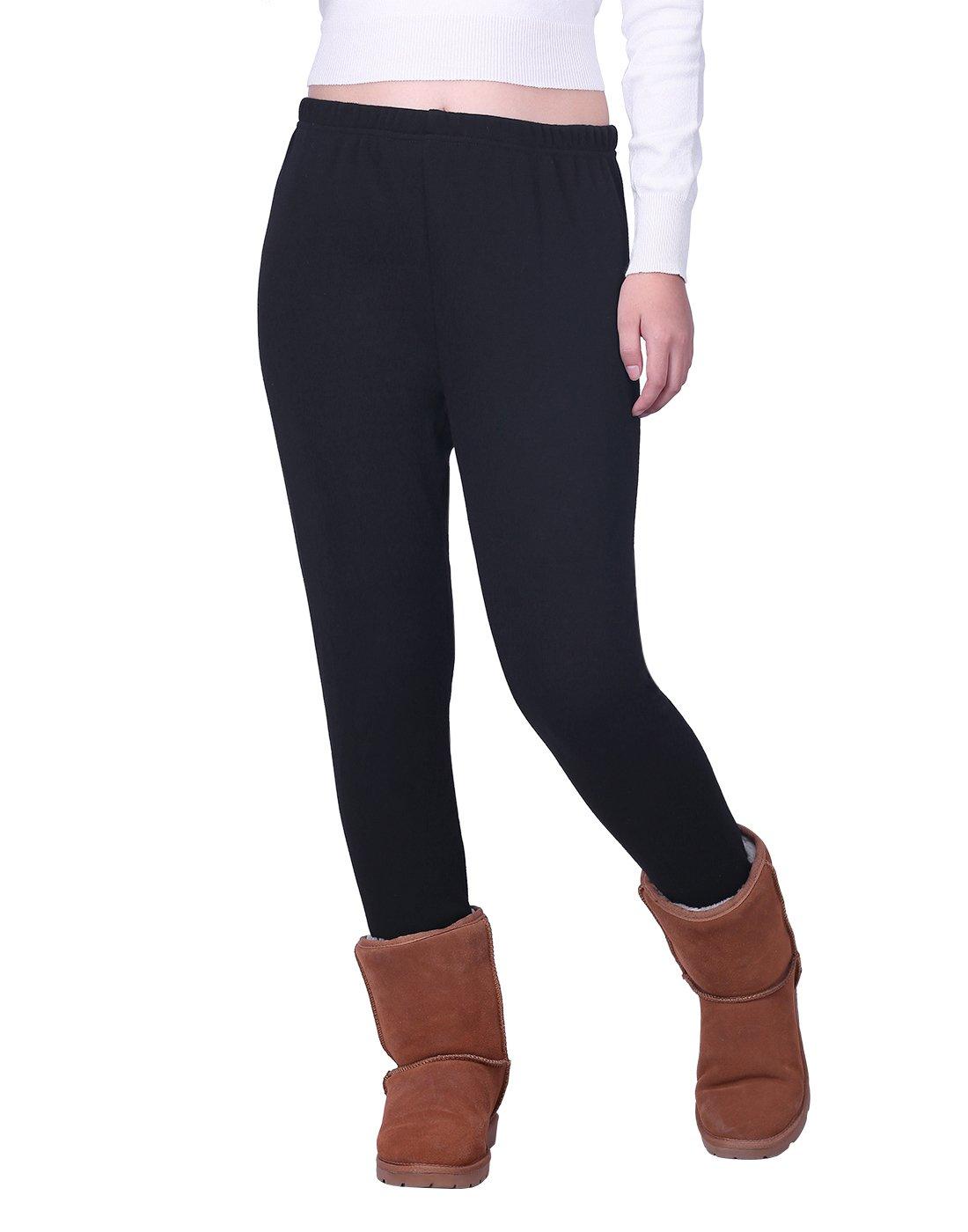 HDE Women's Winter Leggings Warm Fleece Lined Thermal High Waist Patterned Pants,Black,Large (US 12-14)