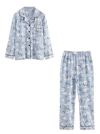 b65bb83264d Milumia Women s Pattern Print Revere Collar Casual Cute Pajama Set Medium  Blue