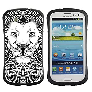 Hybrid Anti-Shock Bumper Case for Samsung Galaxy S3 / Majestic Lion Painting