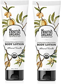 product image for Nourish Organic Hydrating and Smoothing Almond Vanilla Body Lotion with Aloe Vera, Shea Butter and Acai, 8 fl. oz. (Pack of 2)
