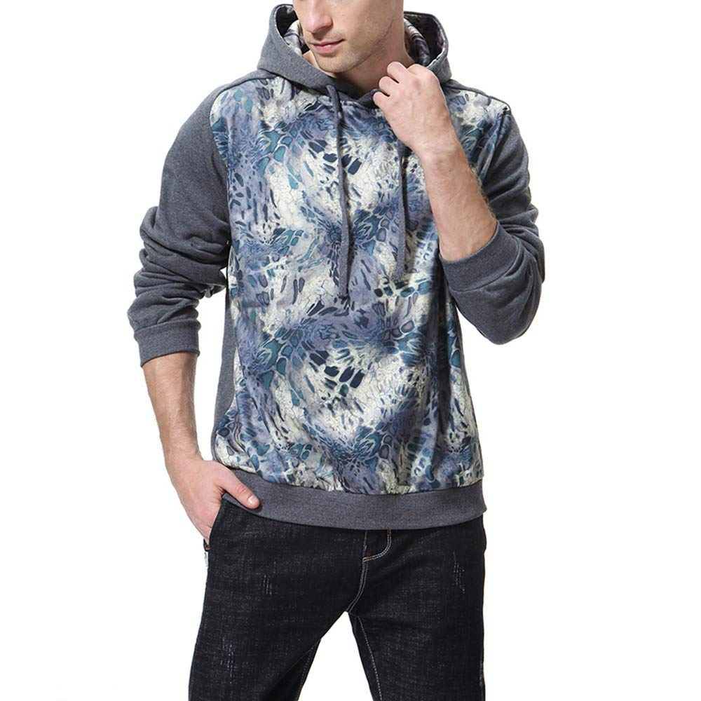 Pius Size Hoodies for Men, Corriee Fashion Fall Print Long Sleeve Hooded Sweatshirt Men's Cool Loose Outwear Tops